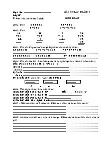 Bài tập ôn tập tuần 19 môn Toán Lớp 2 - Trường Tiểu học Nam Chính