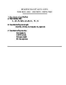Bộ đề kiểm tra giữa học kì I Tiếng việt Lớp 1,2 (Có đáp án) - Năm học 2012-2013