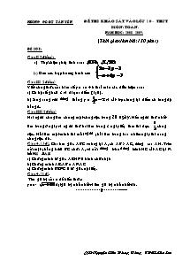 Bộ đề thi khảo sát vào Lớp 10 môn Toán - Năm học 2008-2009 - Phòng GD&ĐT Tân Yên