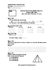 Đề kiểm tra chất lượng đầu năm Toán Lớp 2 - Năm học 2008-2009 - Trường Tiểu học Đoàn Kết