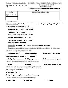 Đề kiểm tra cuối học kì I Tiếng việt Lớp 2 - Năm học 2012-2013 - Trường Tiểu học Hoàng Hoa Thám