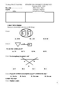 Đề kiểm tra cuối học kì I Toán Lớp 2 - Năm học 2012-2013 - Trường Tiểu học số 3 Thái Niên