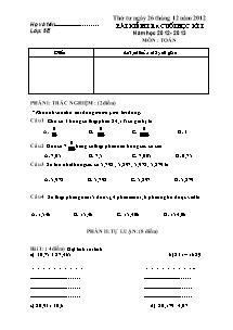 Đề kiểm tra cuối học kì I Toán Lớp 5 - Năm học 2012-2013