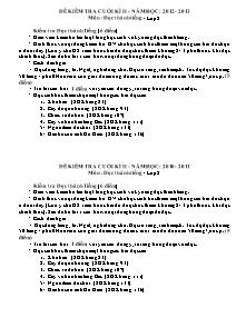 Đề kiểm tra cuối học kì II Đọc thành tiếng Lớp 2 - Năm học 2012-2013
