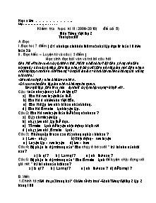 Đề kiểm tra cuối học kì II Tiếng việt Lớp 2 - Đề số 5 - Năm học 2009-2010