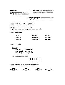 Đề kiểm tra cuối học kì II Tiếng việt Lớp 2 - Năm học 2008-2009 - Trường Tiểu học Ninh Thành