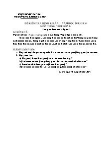 Đề kiểm tra định kì lần 1 Tiếng việt Lớp 4 - Năm học 2013-2014 - Trường Tiểu học Hà Sen