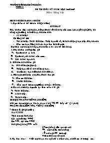 Đề kiểm tra giữa học kì I Tiếng việt Lớp 2 - Năm học 2008-2009 - Trường Tiểu học Quảng Châu 1