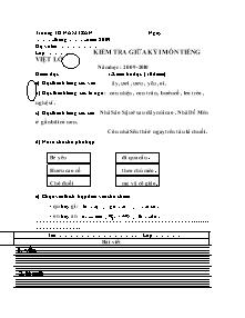 Đề kiểm tra giữa học kì I Tiếng việt Lớp 2 - Năm học 2009-2010 - Trường Tiểu học Nam Trân
