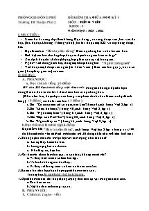 Đề kiểm tra giữa học kì I Tiếng việt, Toán Lớp 2 - Năm học 2013-2014 - Võ Thị Hồng Yến