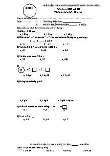 Đề kiểm tra giữa học kì I Toán Khối 2 (Có đáp án) - Năm học 2007-2008