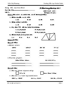Đề kiểm tra giữa học kì I Toán Lớp 2 - Trần Thị Phương