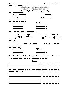 Đề kiểm tra giữa học kì I Toán, Tiếng việt Lớp 3 - Năm học 2009-2010