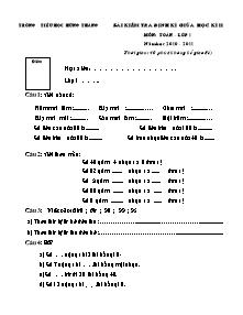 Đề kiểm tra giữa học kì II Toán Lớp 1 - Năm học 2010-2011 - Trường Tiểu học Hùng Thắng