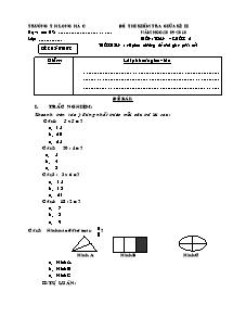 Đề kiểm tra giữa học kì II Toán Lớp 2 - Năm học 2009-2010 - Trường Tiểu học Long Hà C