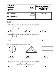 Đề kiểm tra giữa học kì II Toán, Tiếng việt Khối 2 - Năm học 2011-2012