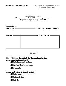 Đề kiểm tra học kì I Khoa học Lớp 5 - Năm học 2008-2009 - Trường Tiểu học Thiện Hòa