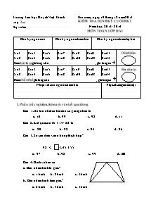 Đề kiểm tra học kì I Toán Lớp 2 - Năm học 2013-2014 - Trường Tiểu học Huỳnh Việt Thanh