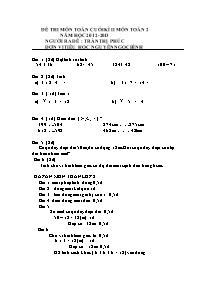 Đề kiểm tra học kì II Toán Lớp 2 - Năm học 2012-2013 - Trần Thị Phúc