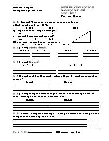 Đề kiểm tra học kì II Toán Lớp 2 - Năm học 2012-2013 - Trường Tiểu học Thắng Nhất