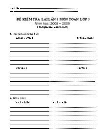 Đề kiểm tra lại lần 1 Toán Lớp 3 - Năm học 2008-2009
