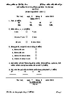 Đề kiểm tra thường xuyên tháng 9 Toán, Tiếng việt Lớp 2 - Năm học 2010-2011 - Trần Thị Thu Ngân