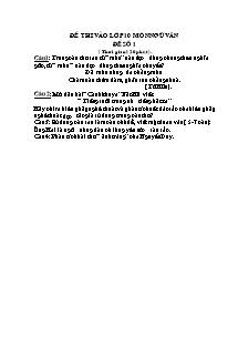 Một số đề thi vào Lớp 10 môn Ngữ văn (Có đáp án)
