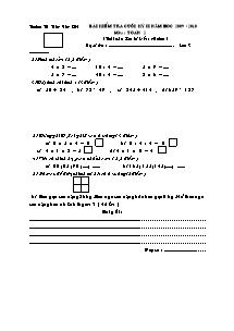 Đề kiểm tra cuối học kì II Toán Lớp 2 - Năm học 2009-2010 - Trường Tiểu học Trần Văn Ơn