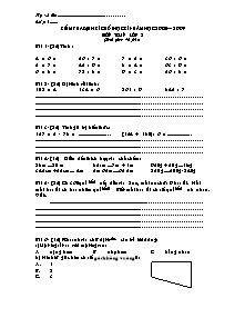 Đề kiểm tra định kì cuối học kì I Toán Lớp 3 - Năm học 2008-2009