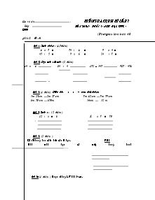 Đề kiểm tra định kì lần 1 Toán Lớp 3 - Năm học 2008-2009