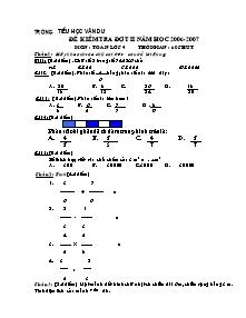 Đề kiểm tra đợt 2 Các môn cấp Tiểu học - Năm học 2006-2007 - Trường Tiểu học Vân Du