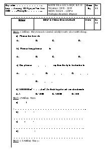 Đề kiểm tra giữa học kì II Toán Lớp 4 - Năm học 2012-2013 - Trường Tiểu học Nguyễn Văn Trỗi